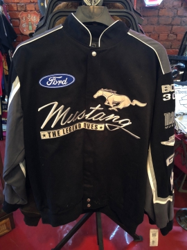 Nascar Jackets - Black Mustang Racing Jacket - Black/Red/Blue - Size M-4XL