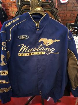 Nascar Jackets - Blue Mustang Racing Jacket - Light Blue - Size M-4XL