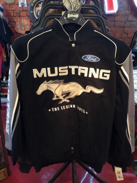 Nascar Jackets - Black Mustang Racing Jacket - Black/Red/Blue/White - Size M-4XL